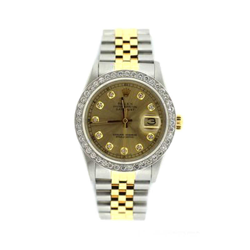 "Image of ""Rolex Datejust Stainless Steel Yellow Gold Diamond 36mm Watch"""