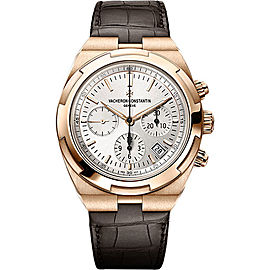 Vacheron Constantin Overseas 18K Rose Gold & Leather with Silver Dial Automatic 42.5mm Mens Watch