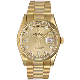Rolex President Day-Date 118208 Champagne Diamond Dial 36mm Mens Watch