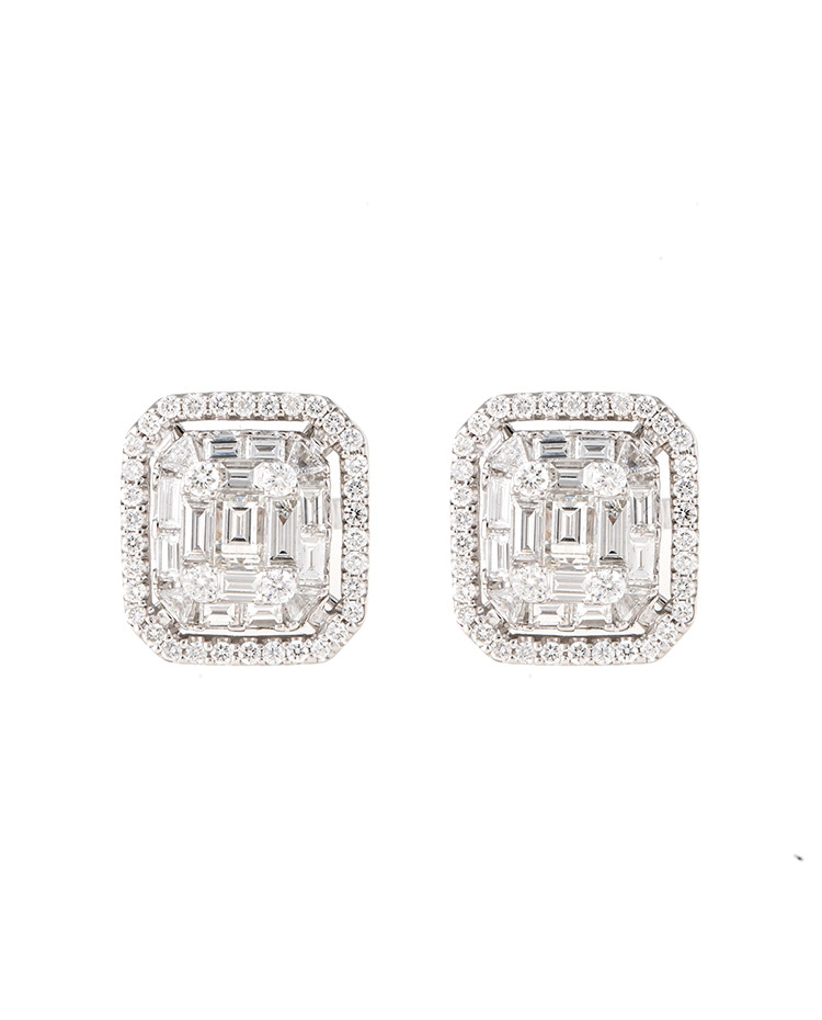"Image of ""Mosaic Collection 18K White Gold Diamonds Earrings"""