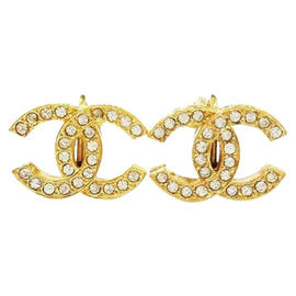Chanel CC Gold Tone Metal & Rhinestone Clip on Earrings