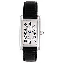 Cartier Tank Americaine W2603256 18K White Gold & Leather White Gold Automatic 44mm Men's Watch