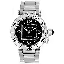 Cartier Pasha Seatimer W31077M7 Stainless Steel Black Dial Automatic 41mm Mens Watch