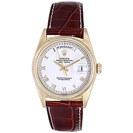Rolex President Day-Date 18208 18K Yellow Gold White Roman Dial 36mm Mens Watch