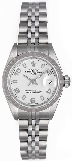 "Image of ""Rolex Date 79240 Stainless Steel White Arabic Dial 26mm Womens Watch"""