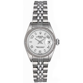 Rolex Date 79240 Stainless Steel White Arabic Dial 26mm Womens Watch