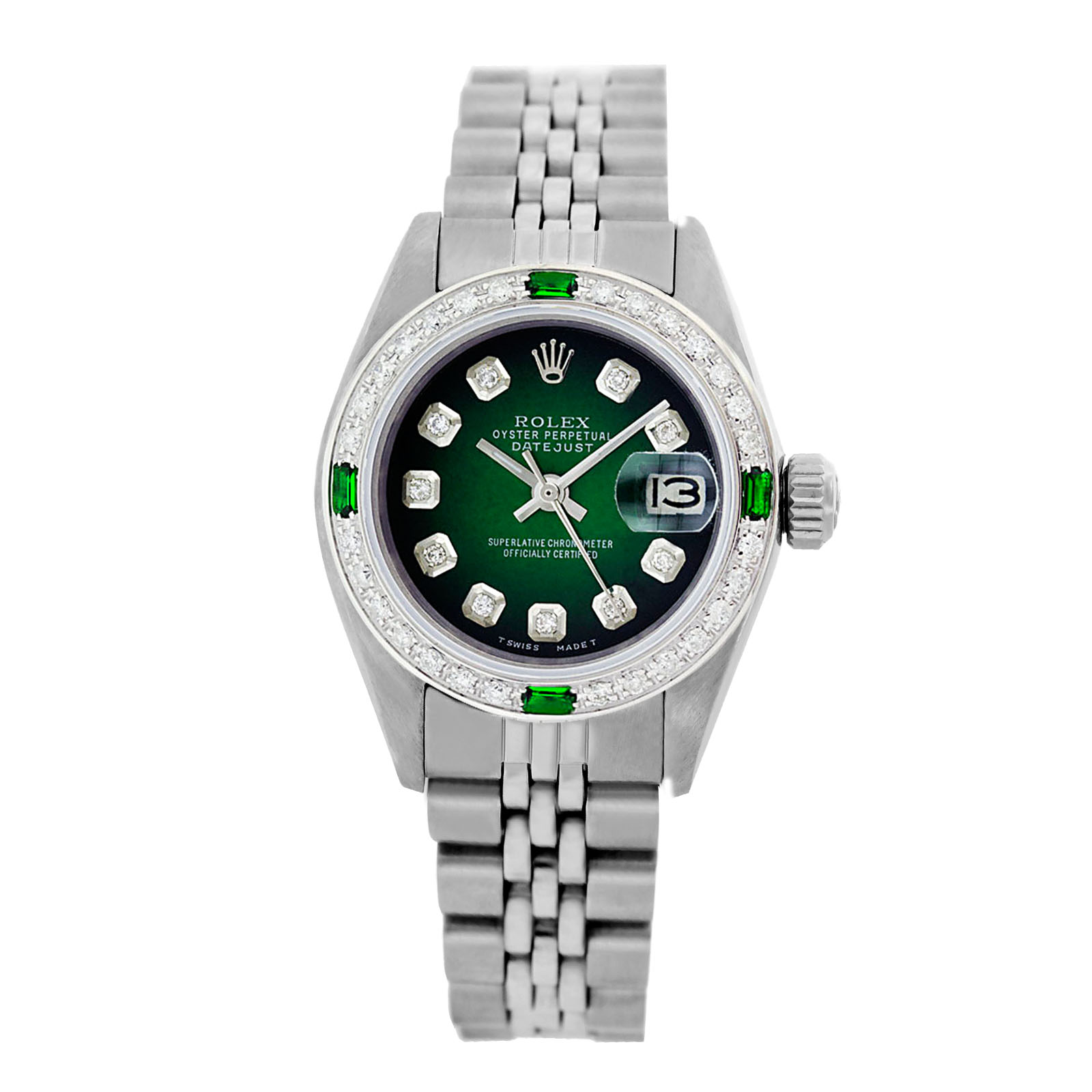 """Image of """"Rolex Datejust 6917 Stainless Steel Green Vignette Dial Emerald &"""""""