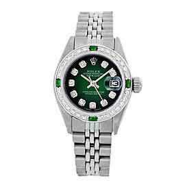 Rolex Datejust 6917 Stainless Steel Green Vignette Dial Emerald & Diamond 26mm Womens Watch