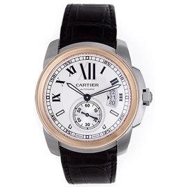 Cartier Calibre de W7100039 Stainless Steel/18K Rose Gold & Black Strap Automatic 42mm Mens Watch