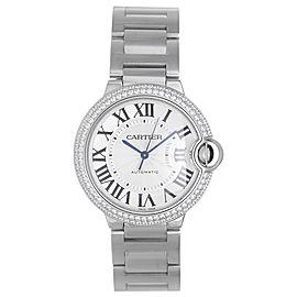 Cartier Ballon Bleu WE9006Z3 18K White Gold wDiamond Automatic 36mm Unisex Watch