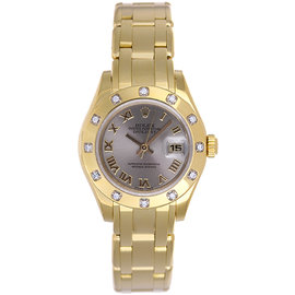 Rolex Pearlmaster 80318 18K Yellow Gold Diamond Dial 29mm Womens Watch
