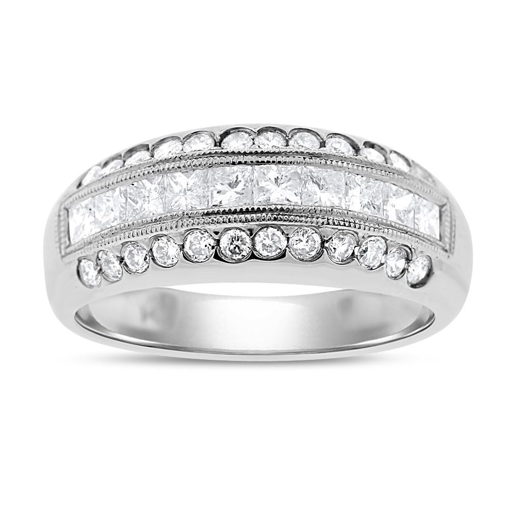 "Image of ""14k White Gold 0.72 Ct. Natural Diamond Princess & Round Cocktail Ring"""