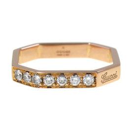 Gucci 18K Rose Gold Diamond Band Ring Size 5.75