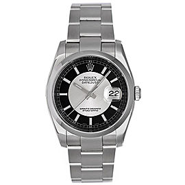 Rolex Datejust 116200 Stainless Steel Black/Silver Dial 36mm Mens Watch