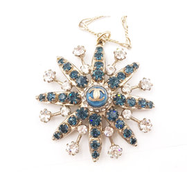 Chanel Gold Tone Metal Blue Crystal CC Star Pendant Necklace