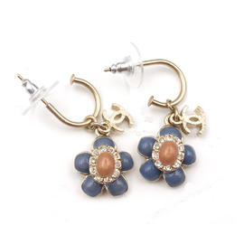 Chanel CC Gold Tone Metal & Enamel Blue Peach Flower Dangle Hoop Piercing Earrings