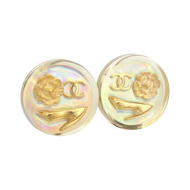 Chanel Resin CC Logo Clip On Round Earrings