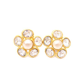 Chanel Gold Tone Metal Rhinestone Faux Pearl Earrings
