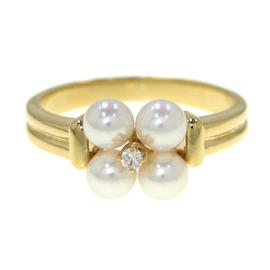 Mikimoto 18K Yellow Gold Pearl Ring Size 4.5