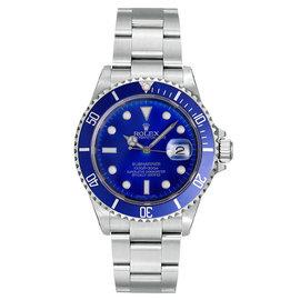 Rolex Submariner 16610 Steel Custom Blue Mens Watch