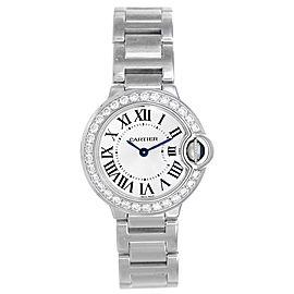 Cartier Ballon Bleu WE9003Z3 18k White Gold Diamond 28mm Watch