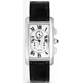 Cartier Tank Americaine W2603356 18K White Gold & Leather White Dial Quartz 45mm Men's Watch