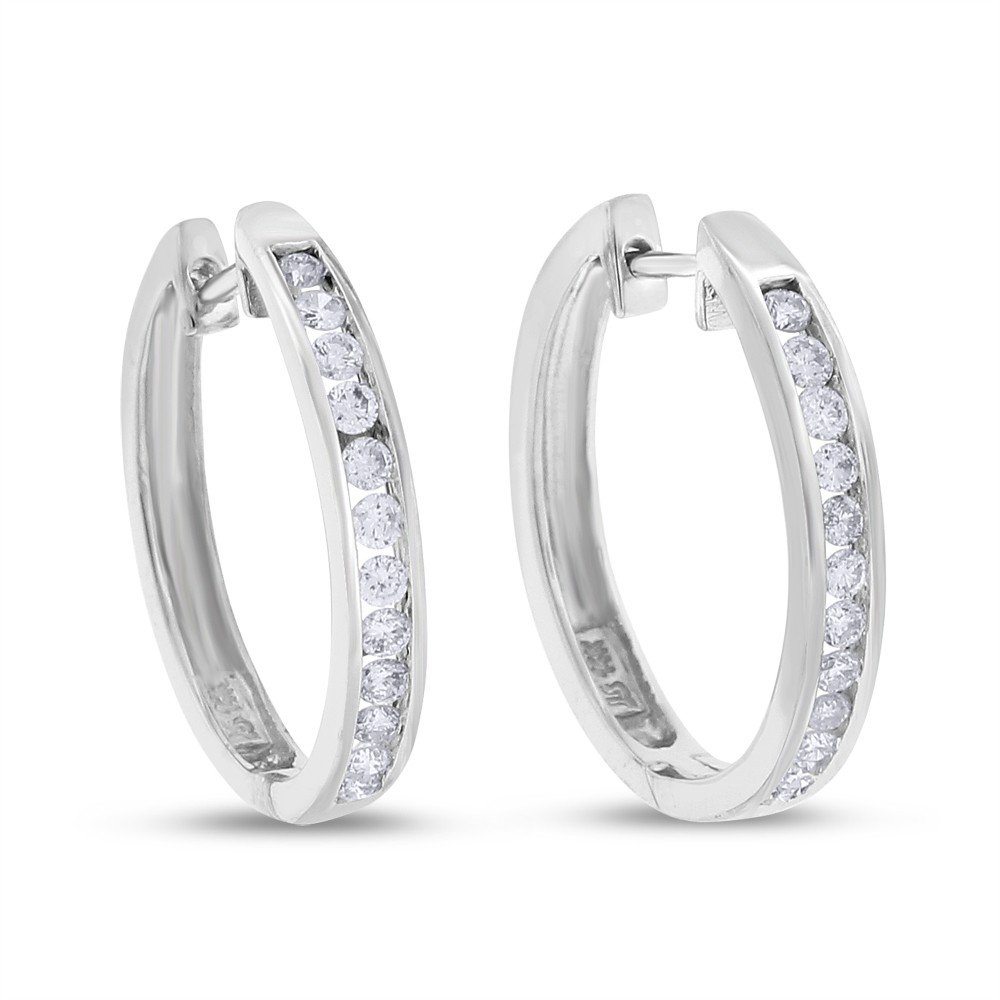 "Image of ""1.00 CT Natural Diamond Channel Set Hoop Earrings in Solid 14k White"""