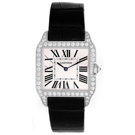 Cartier Santos WH100251 18K White Gold & Leather Quartz 26mm Unisex Watch