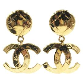 Chanel CC Gold Tone Metal Plaid Stitching Dangle Clip on Pixie Lott Earrings