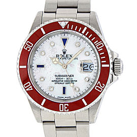 Rolex Submariner 16610 Stainless Steel with White Mother Of Pearl Diamond and Sapphire 40mm Mens Watch