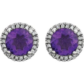 14K White Gold 1.6ct Amethyst & Diamond Halo Earrings