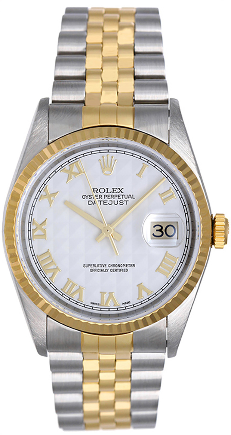 """Image of """"Rolex Datejust 16233 2-Tone Steel & Gold Ivory Pyramid Dial 36mm Mens"""""""