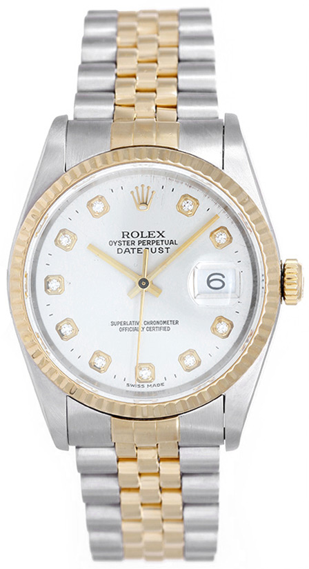 """Image of """"Rolex Datejust 16233 2-Tone Steel & Gold Silver Diamond Dial 36mm"""""""