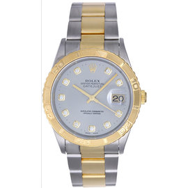 Rolex Turnograph 16263 Stainless Steel & Yellow Gold Serti Diamond Dial 36mm Mens Watch