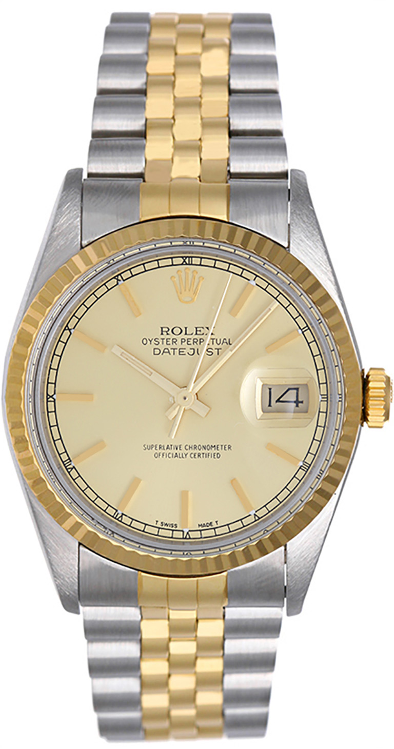 """Image of """"Rolex Datejust 16013 2-Tone Steel & Gold Mens Watch"""""""