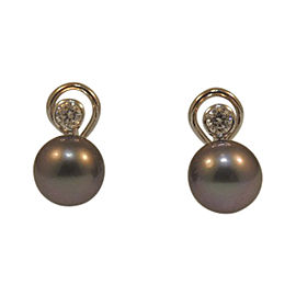14K White Gold Tahitian Pearl & Diamond Accent Earrings