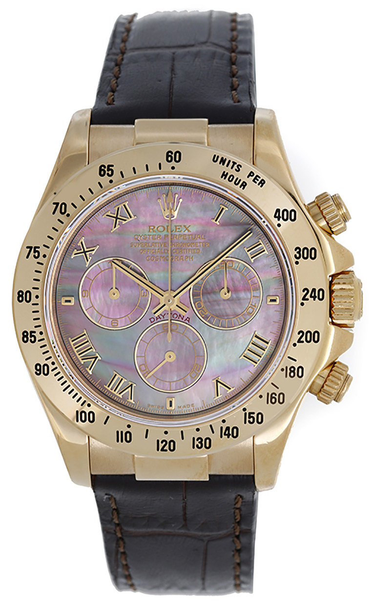 """""Rolex Cosmograph Daytona 116518 18K Yellow Gold & Leather Automatic"""""" 1449742"