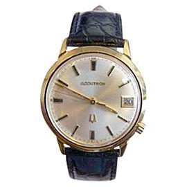 Bulova Accutron 10K Yellow Gold Filled Quartz Vintage 34.2mm Mens Watch Year 1970