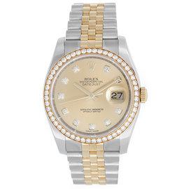 Rolex Datejust 2-Tone 116243 Steel & Gold Champagne Diamond Dial 36mm Mens Watch