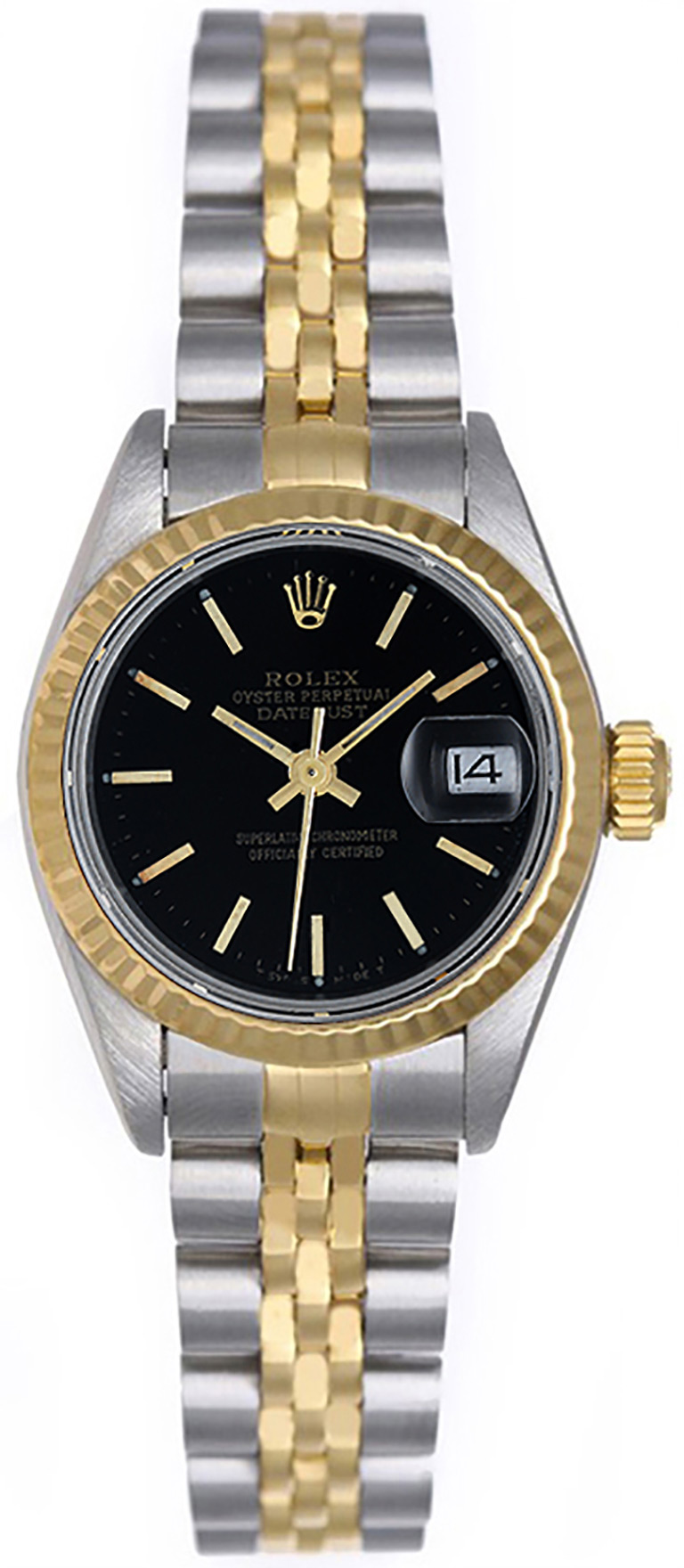 "Image of ""Rolex Datejust 69173 2-Tone Steel/Gold Black Stick Dial 26mm Womens"""
