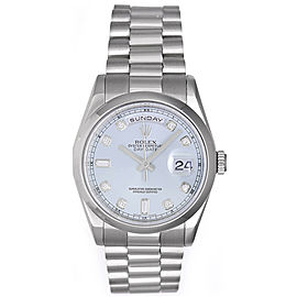 Rolex President Day-Date 118206 Platinum Glacier Blue Automatic 36mm Mens Watch
