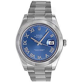 Rolex Datejust II 116300 Stainless Steel Blue Roman Dial Mens 41mm Watch