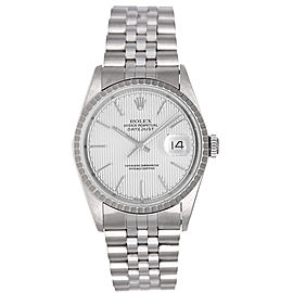 Rolex Datejust 16220 Stainless Steel Silver Tapestry Dial 36mm Mens Watch