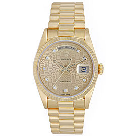 Rolex President Day-Date 18238 18K Yellow Gold Champagne Jubilee Diamond Dial 36mm Mens Watch