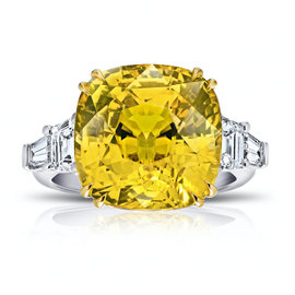 Platinum and 18K Yellow Gold 19.25ct Yellow Sapphire and Diamond Ring Size 7