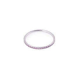 Tiffany & Co. 18K White Gold Pink Sapphire Ring Size 7.5