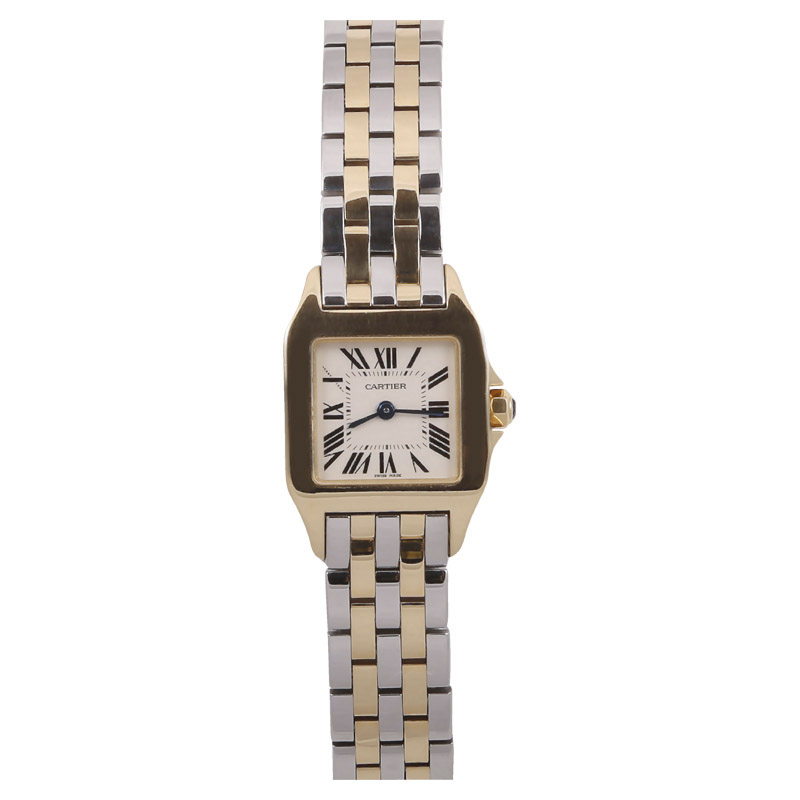 """Image of """"Cartier Santos Demoiselle 18K Yellow Gold & Stainless Steel 22mm Watch"""""""