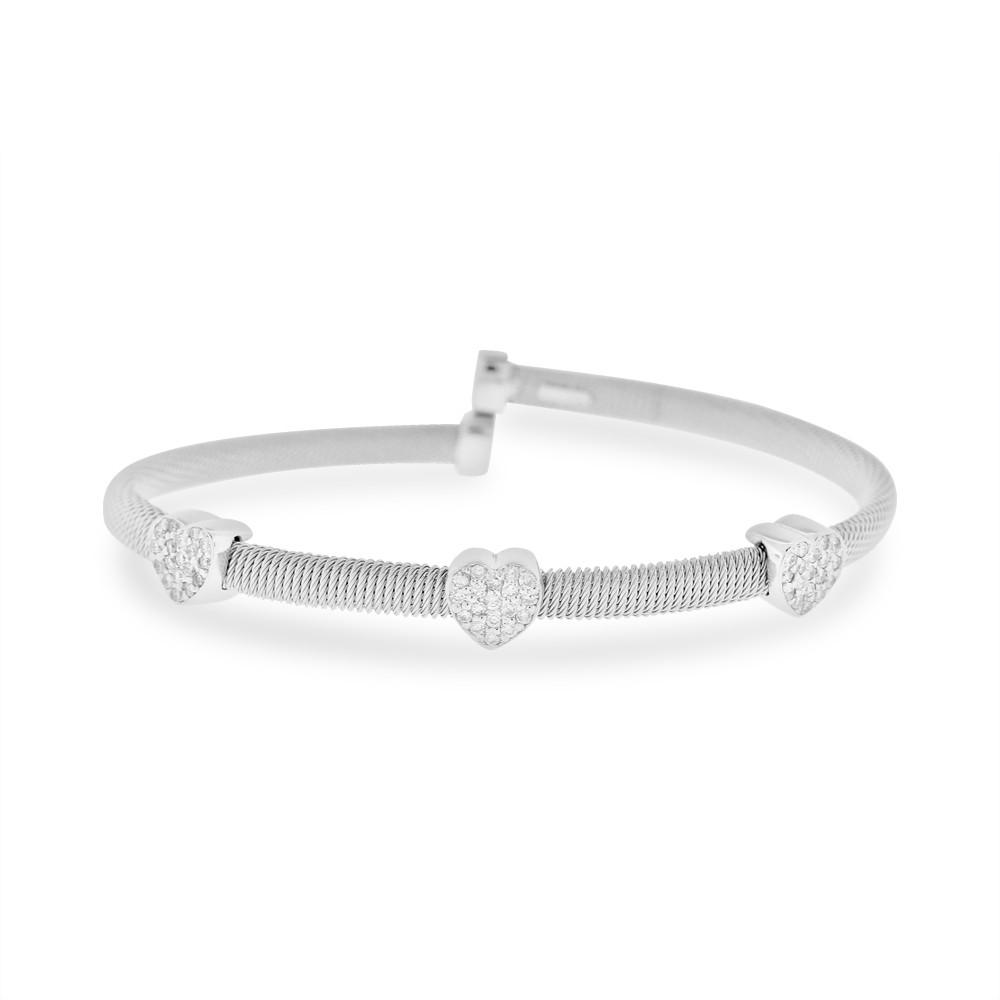 "Image of ""14K White Gold 0.60ct Diamond Triple Heart Spring Bangle Bracelet"""