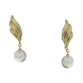 Mikimoto 18K Yellow Gold & Pearl Earrings