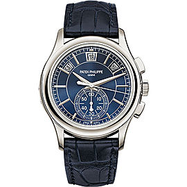 Patek Philippe Platinum / Leather with Blue Dial 42mm Mens Watch